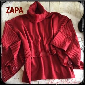 ZAPA Dark Red Cropped Front Funnel Neck  Poncho